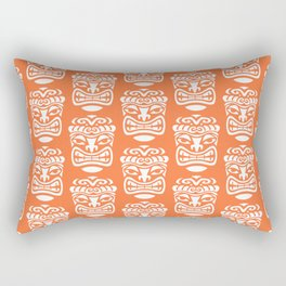 Tiki Pattern Orange Rectangular Pillow