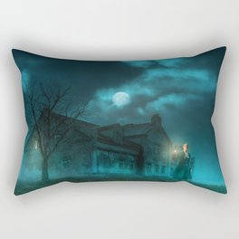 Lady with lamp in hand exploring the obscurity Rectangular Pillow