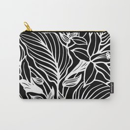 Black White Floral Minimalist Carry-All Pouch
