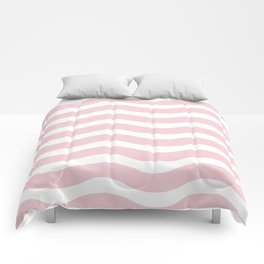 Pink Abstract Wavy Lines Pattern Comforters