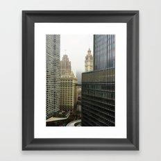 Chicago Buildings in Fog Color Photo Framed Art Print