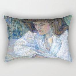 """Henri de Toulouse-Lautrec """"The Reader (La Liseuse)"""" Rectangular Pillow"""