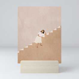 Girl Thinking on a Stairway Mini Art Print
