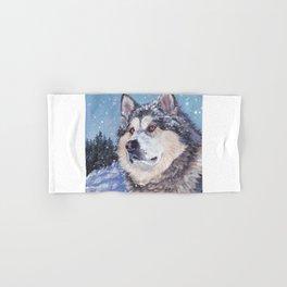 Alaskan Malamute dog portrait Fine Art Dog Painting by L.A.Shepard Hand & Bath Towel