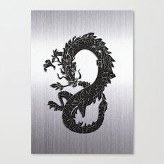Black Oriental Dragon on Silver Canvas Print