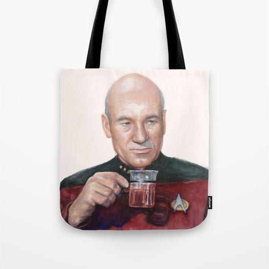 Tea. Earl Grey. Hot. Captain Picard Star Trek | Watercolor Tote Bag