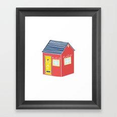 Little Red Scandinavian House Framed Art Print