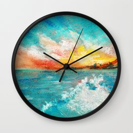 Blazing sunset in the sea Bay drawing by pastel Wall Clock