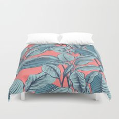 Pink Exotic Tropical Banana Palm Leaf Print Duvet Cover
