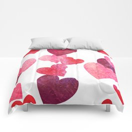 Pink Grungy Hearts Comforters