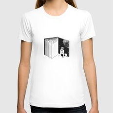 Reading is Dreaming with Your Eyes Open White MEDIUM Womens Fitted Tee