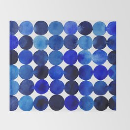 Blue Circles in Watercolor Throw Blanket