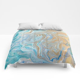 Marble turquoise gold silver Comforters