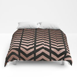 Rose gold and black chevron Comforters