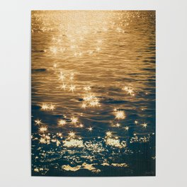 Sparkling Ocean in Gold and Navy Blue Poster