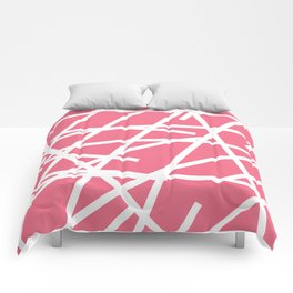 Abstract Criss Cross White Strokes on Pink Background Comforters