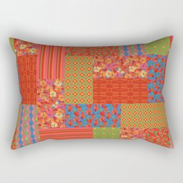 Poppy Fields Faux Patchwork Rectangular Pillow