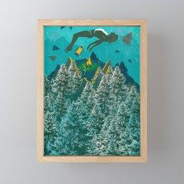 FLOATING FOREST BLUE Framed Mini Art Print