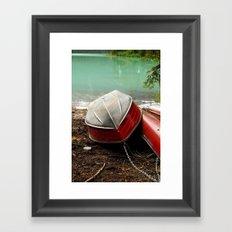 Emerald lake Boat Framed Art Print