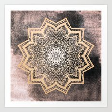 GOLD EARTH FLOWER MANDALA Art Print