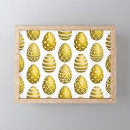 Happy golden yellow Easter eggs Framed Mini Art Print