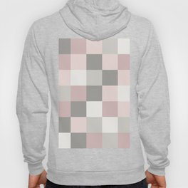 Dusty Rose, Rose and Grey Squares Hoody