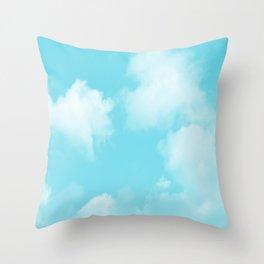 Aqua Blue Clouds Throw Pillow