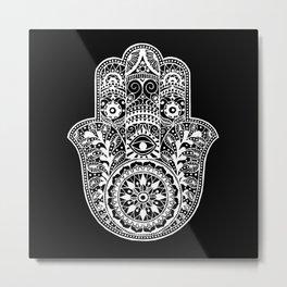 Black and White Hamsa Hand Metal Print