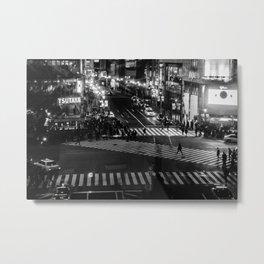 Shibuyacrossing at night - monochrome Metal Print