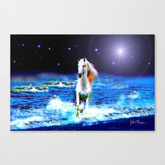 White Horse on the Starry Beach Canvas Print