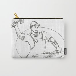 Farrier Wielding Hammer Oval Doodle Art Carry-All Pouch