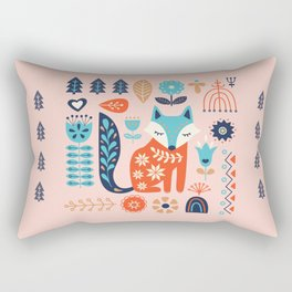 Soft And Sweet Scandinavian Fox Folk Art Rectangular Pillow