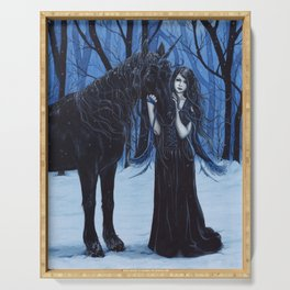 Midnight Travelers Gothic Fairy and Unicorn Serving Tray