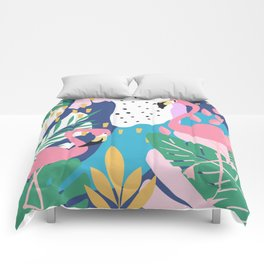 CUTE TROPICAL PINK PASTEL FLAMINGO JUNGLE PATTERN Comforters