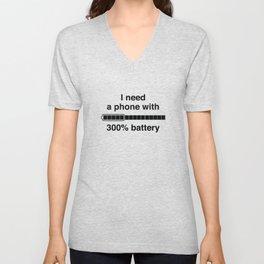 300 Percent Battery Unisex V-Neck