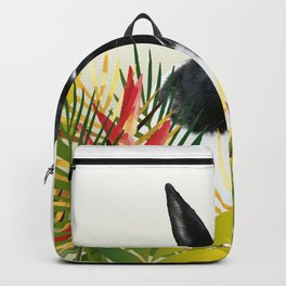 Black and White Bunny - Rabbit Heliconia Flowers Eastern  Backpack