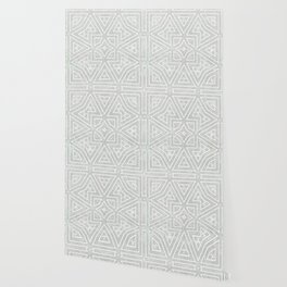 Minimalist Style Faded Look Grey And White Geometric Print Wallpaper