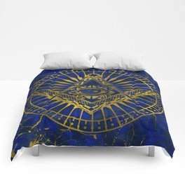 All Seeing Mystic Eye in Masonic Compass on Lapis Lazuli Comforters