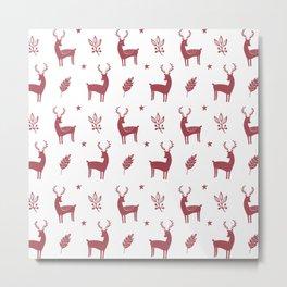 Christmas Red Reindeers Metal Print