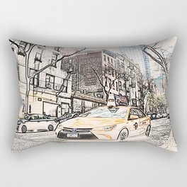 Taxi New York City Usa Street ArtWork Painting Rectangular Pillow