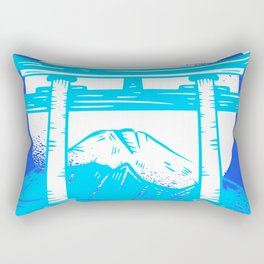 Happy Fuji - Bright Blue Color Rectangular Pillow