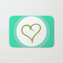 Green Heart with Love Badematte