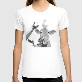 Black and White Farm Animal Friends T-shirt