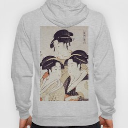 Three Beauties of the Present Day Geisha Print Hoody