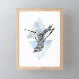 Hummingbird - Blue Framed Mini Art Print