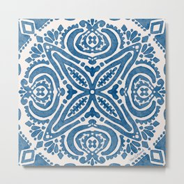 Blue Folk Azulejo Tile No.5 Metal Print