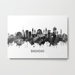 Baghdad Iraq Skyline BW Metal Print