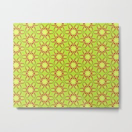 Lime and Red Star Flower Metal Print