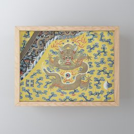 Chinese Emperor's 'Nine Dragon' Yellow Silk Embroidered Robe - Qing Dynasty - detail of robe Framed Mini Art Print