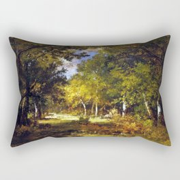 Narcisse-Virgile Diaz de la Peña Forest Scene Rectangular Pillow